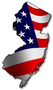 Map of New Jersey with Flag. Defalco Real Estate Academy